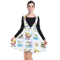 Vector Pattern With Funny Animals Cartoon Summer Holiday Beach Plunge Pinafore Dress