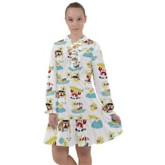 Vector Pattern With Funny Animals Cartoon Summer Holiday Beach All Frills Chiffon Dress by Bejoart