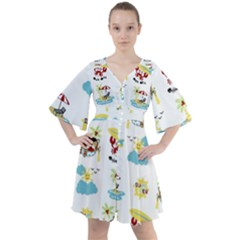 Vector Pattern With Funny Animals Cartoon Summer Holiday Beach Boho Button Up Dress