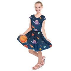Background-template-with-bright-stars-dark-sky Kids  Short Sleeve Dress