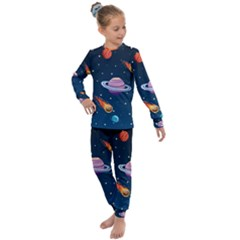 Background-template-with-bright-stars-dark-sky Kids  Long Sleeve Set  by Bejoart