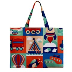 Toy Transport Cartoon Seamless Pattern With Airplane Aerostat Sail Yacht Vector Illustration Mini Tote Bag by Bejoart