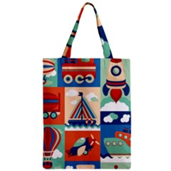 Toy Transport Cartoon Seamless Pattern With Airplane Aerostat Sail Yacht Vector Illustration Classic Tote Bag by Bejoart