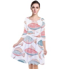 Hand Drawn Seamless Pattern With Cute Fishes Doodle Style Pink Blue Colors Quarter Sleeve Waist Band Dress