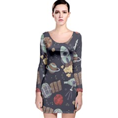 Hand Drawn Pattern Space Elements Collection Long Sleeve Velvet Bodycon Dress
