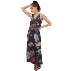 Hand Drawn Pattern Space Elements Collection V-neck Chiffon Maxi Dress