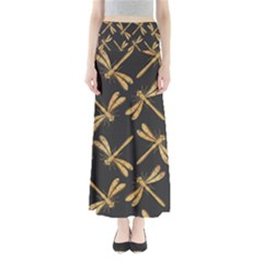 Golden Dragonfly Seamless Pattern Textile Design Wallpaper Wrapping Paper Scrapbooking Full Length Maxi Skirt