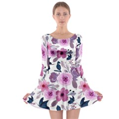 Purple Flower Butterfly With Watercolor Seamless Pattern Long Sleeve Skater Dress