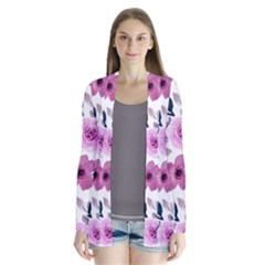 Purple Flower Butterfly With Watercolor Seamless Pattern Drape Collar Cardigan