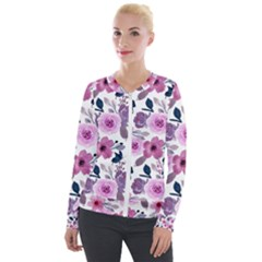 Purple Flower Butterfly With Watercolor Seamless Pattern Velour Zip Up Jacket