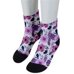 Purple Flower Butterfly With Watercolor Seamless Pattern Men s Low Cut Socks