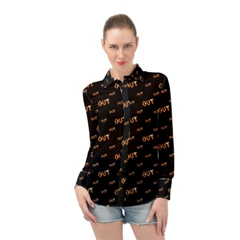 Out Word Motif Print Pattern Long Sleeve Chiffon Shirt by dflcprintsclothing