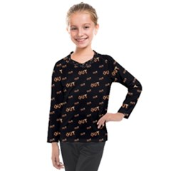 Out Word Motif Print Pattern Kids  Long Mesh Tee