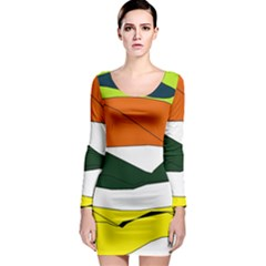 Colorful Hills Long Sleeve Bodycon Dress
