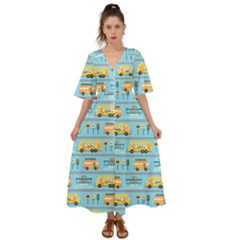 Buses Cartoon Pattern Vector Kimono Sleeve Boho Dress