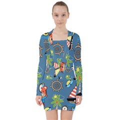 Seamless Pattern With Sailing Cartoon V-neck Bodycon Long Sleeve Dress