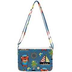 Seamless Pattern With Sailing Cartoon Double Gusset Crossbody Bag