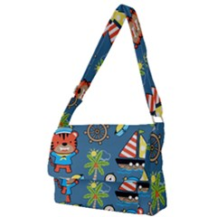 Seamless Pattern With Sailing Cartoon Full Print Messenger Bag (l)