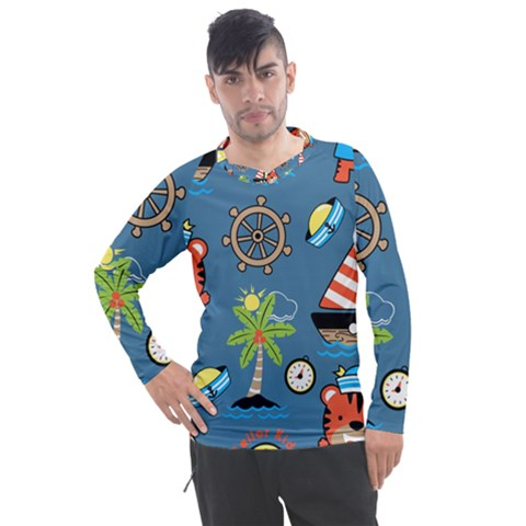 Seamless Pattern With Sailing Cartoon Men s Pique Long Sleeve Tee by Bejoart
