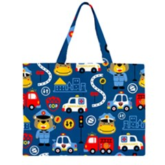 Seamless Pattern Vector Rescue Team Cartoon Zipper Large Tote Bag