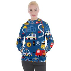 Seamless Pattern Vector Rescue Team Cartoon Women s Hooded Pullover