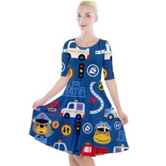 Seamless Pattern Vector Rescue Team Cartoon Quarter Sleeve A-line Dress
