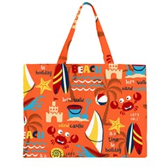 Seamless Pattern Vector Beach Holiday Theme Set Zipper Large Tote Bag