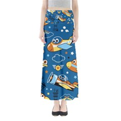 Seamless Pattern With Nice Planes Cartoon Full Length Maxi Skirt by Bejoart