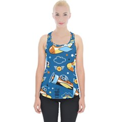 Seamless Pattern With Nice Planes Cartoon Piece Up Tank Top