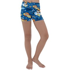 Seamless Pattern With Nice Planes Cartoon Kids  Lightweight Velour Yoga Shorts