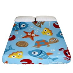 Seamless Pattern Funny Marine Animals Cartoon Fitted Sheet (queen Size)