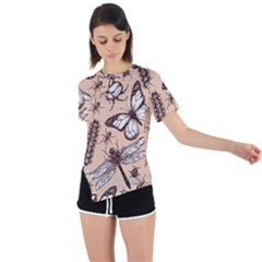 Vintage Drawn Insect Seamless Pattern Asymmetrical Short Sleeve Sports Tee