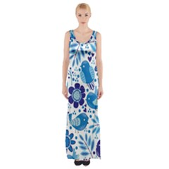 Pattern With Birds Thigh Split Maxi Dress