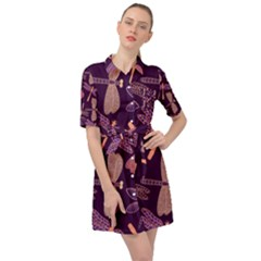 Dragonfly Pattern Design Belted Shirt Dress