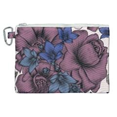 Floral Wallpaper Pattern With Engraved Hand Drawn Flowers Vintage Style Canvas Cosmetic Bag (xl)