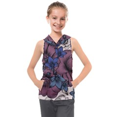 Floral Wallpaper Pattern With Engraved Hand Drawn Flowers Vintage Style Kids  Sleeveless Hoodie