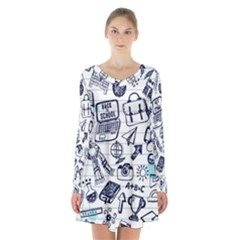 Hand Drawn Back School Pattern Long Sleeve Velvet V-neck Dress