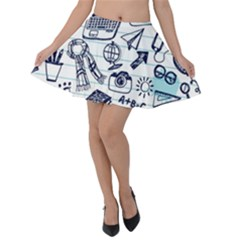 Hand Drawn Back School Pattern Velvet Skater Skirt by Bejoart