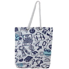 Hand Drawn Back School Pattern Full Print Rope Handle Tote (large) by Bejoart