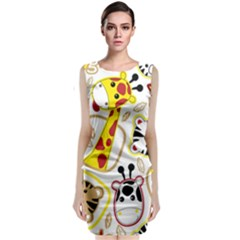Vector Seamless Pattern Nice Animals Cartoon Sleeveless Velvet Midi Dress
