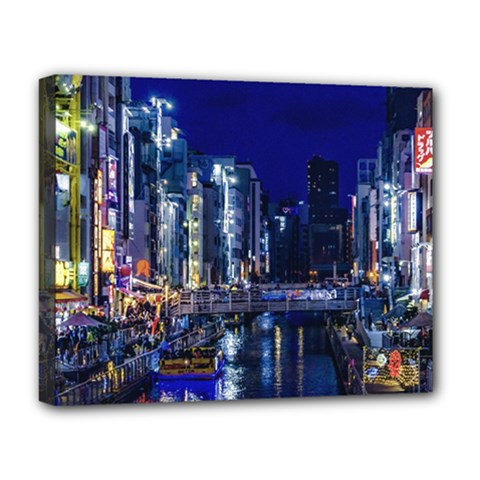 Dotonbori Night Scene - Osaka, Japan Deluxe Canvas 20  X 16  (stretched)