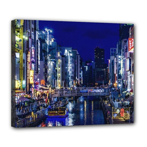 Dotonbori Night Scene - Osaka, Japan Deluxe Canvas 24  X 20  (stretched)