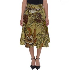 Forest Vintage Seamless Background With Owls Perfect Length Midi Skirt