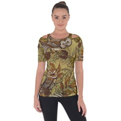 Forest Vintage Seamless Background With Owls Shoulder Cut Out Short Sleeve Top