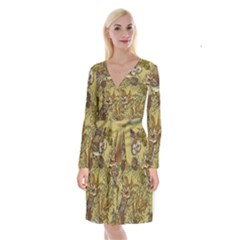 Forest Vintage Seamless Background With Owls Long Sleeve Velvet Front Wrap Dress