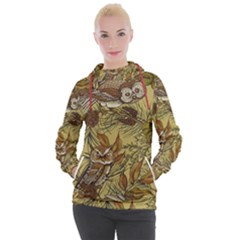 Forest Vintage Seamless Background With Owls Women s Hooded Pullover by Bejoart