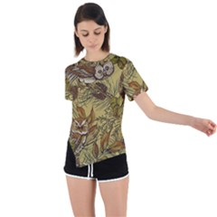 Forest Vintage Seamless Background With Owls Asymmetrical Short Sleeve Sports Tee