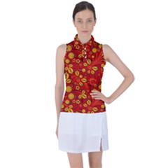 Seamless Pattern Slavic Folk Style Women s Sleeveless Polo Tee