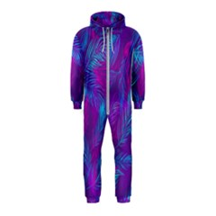 Leaf Pattern With Neon Purple Background Hooded Jumpsuit (kids)