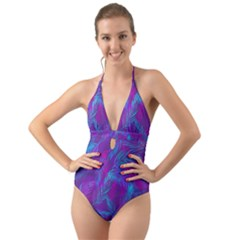Leaf Pattern With Neon Purple Background Halter Cut-out One Piece Swimsuit